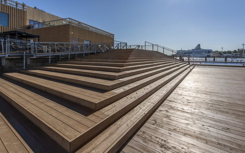 Wood Siding and deckings in Allas Sea pool